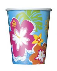 8 Luau Hula Beach Hawaiian Summer Paper Party Cups